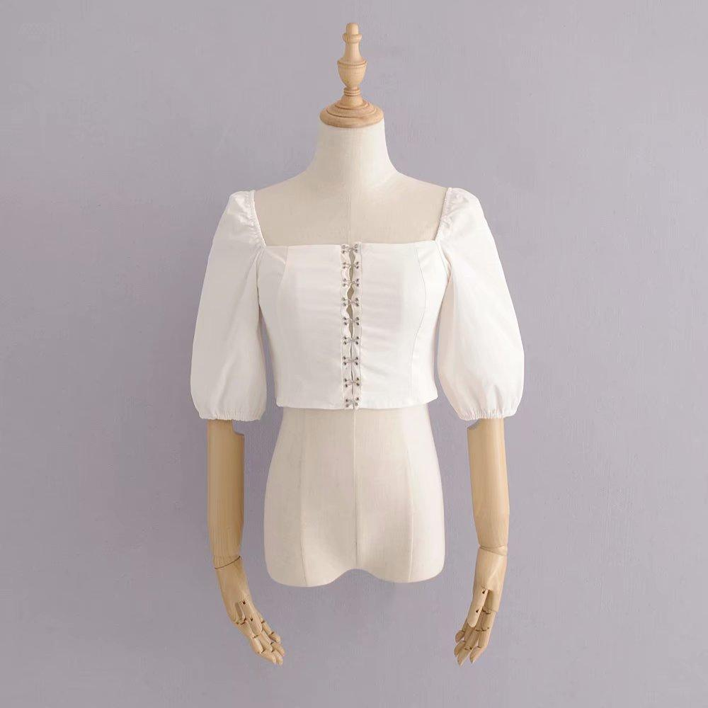 a148bf7cdf5ef3 2019 Vintage Cotton Women White Crop Top Square Collar Puff Short Sleeve  Cropped Shirt Ruffle Summer Tanks Top Femme From Meicloth, $21.96    DHgate.Com