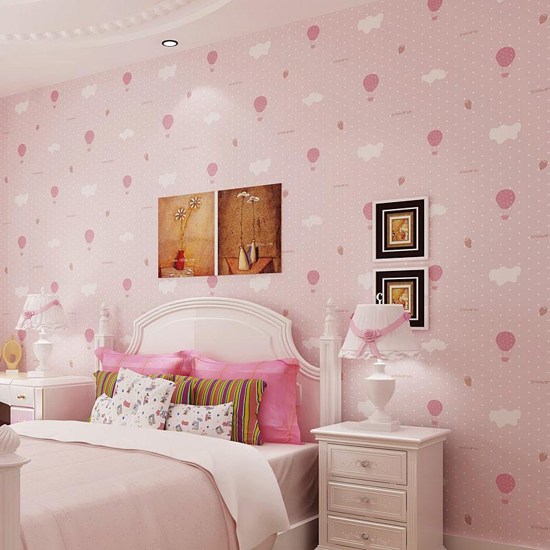 Modern Cartoon Pink Hot Air Balloon Non Woven Wall Paper Rolls Blue Boys Girls Bedroom Children Room Decoration Wallpaper Print Images Wallpapers Imaging
