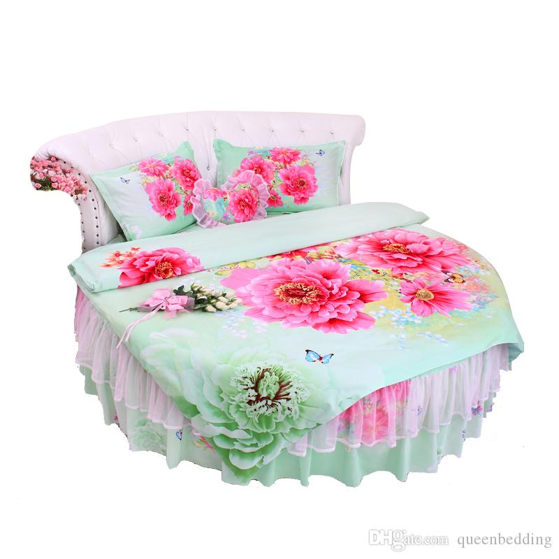 Customized Cotton Round corner Palace GREEN RED peony Sweet Round Bed Princess Bedding set superking Size Duvetcover Pillowcase LACE Bedding