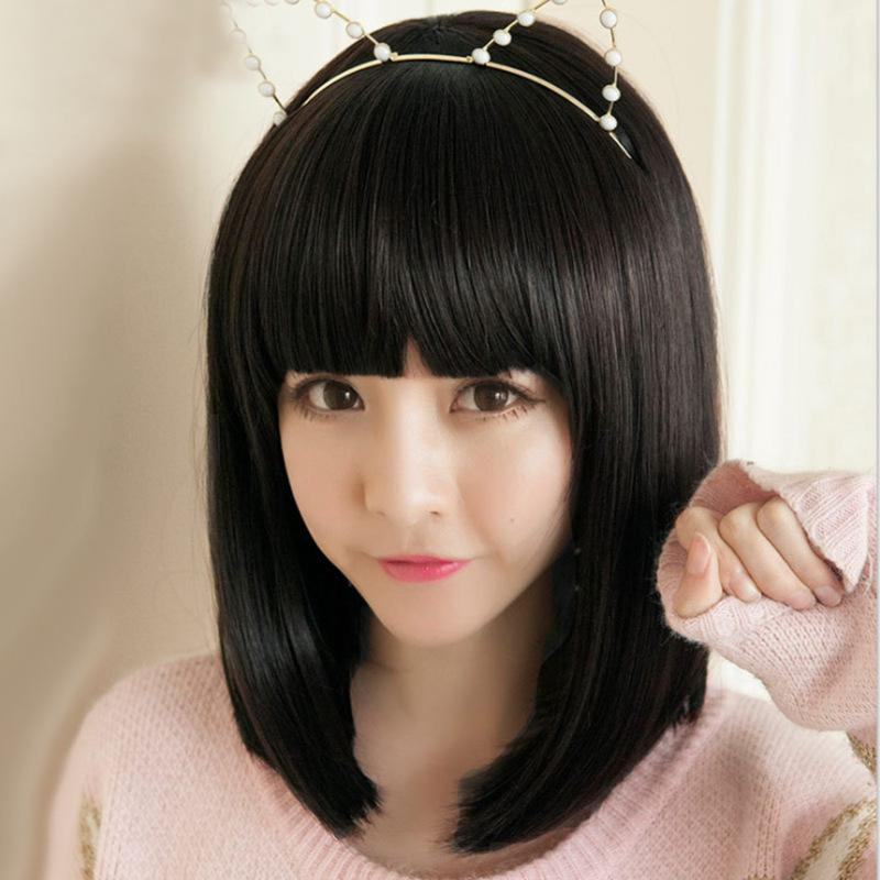 Day Korean Short Hair Wig Bobo Head Girl Student Hair Together Fringe Face Wave Wave Head Wig Setby Haif
