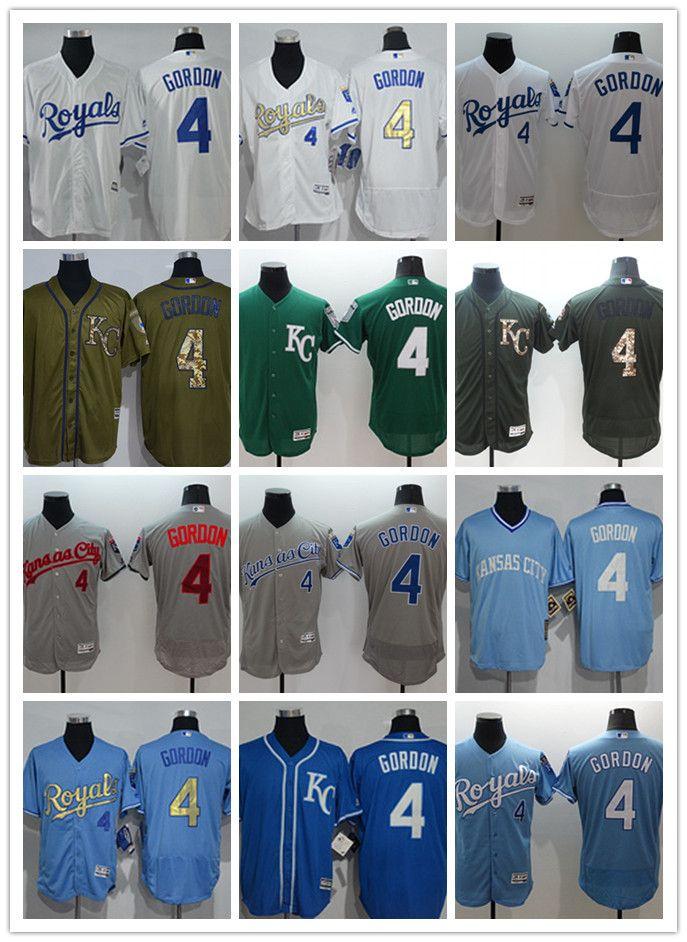buy popular 9f603 65690 custom Men women youth KC Royals Jersey #4 Alex Gordon Home Blue White Grey  Baseball Jerseys