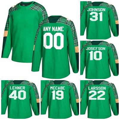 sale retailer 467e9 aaf96 Mens New Brand Buffalo Sabres 10 Josefson 19 Mccabe 22 Larsson 31 Johnson  40 Lehner Green St. Patrick's Day Ice Hockey Jerseys Accept Custom