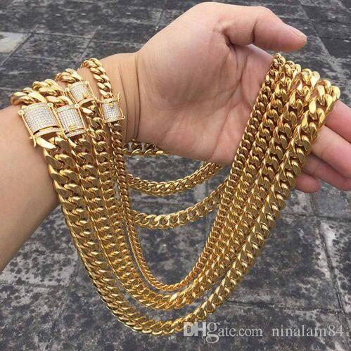 2019 Hip Hop 10 14mm Men Cuban Miami Chain Necklace Stainless Steel  Rhinestone Clasp Iced Out Gold Silver Casting Chain Necklaces From  Ninalam84 f30f67ac8b63