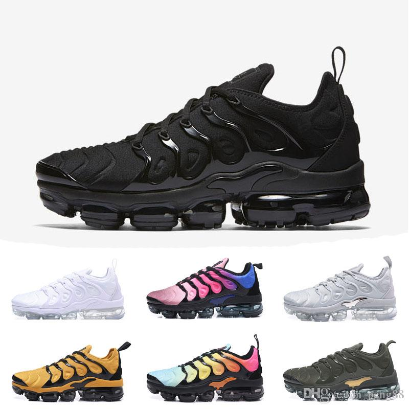 newest 2a6bb 1840c ... Nike Air Max Vapormax TN PLUS Air TN Plus Hommes Femmes Chaussures De  Luxe De Course Olive Blanc Argent Noir Colorways Pack Triple Black Hommes  Sport ...