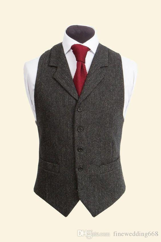 aa71db5f052 Cheap And Fine Notch Lapel Tweed Vests Wool Herringbone British Style  Custom Made Mens Suit Tailor Slim Fit Blazer Wedding Suits For Men Black  Wedding Vest ...