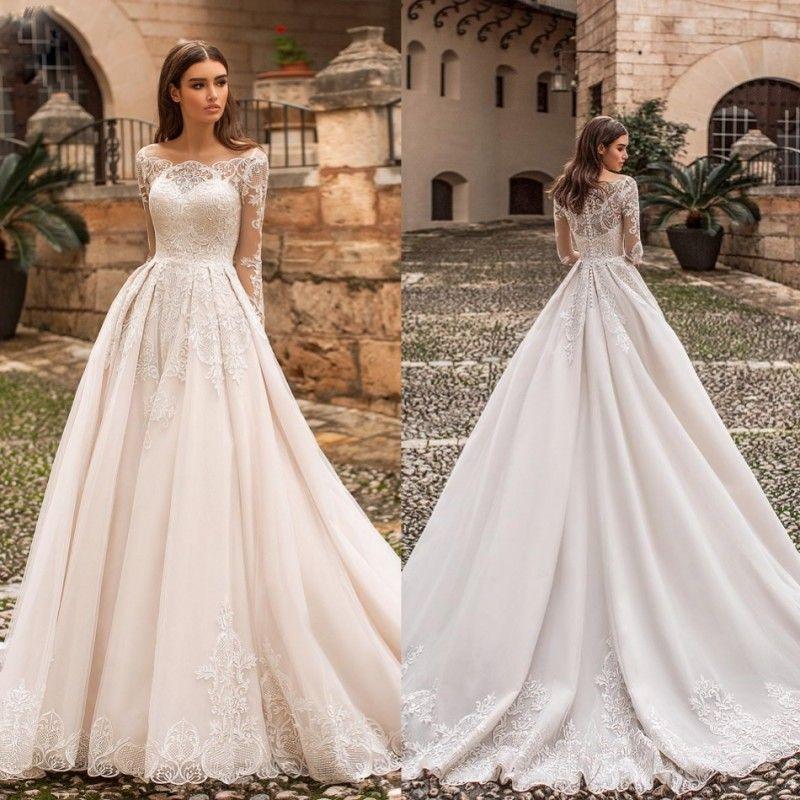 b5bb17ba453 Naviblue 2019 Dolly New Wedding Dresses Bateau Neck Lace Appliqued Long  Sleeves Bridal Gowns Sweep Train Plus Size Vestido De Novia Wedding Dresses  Birdal ...