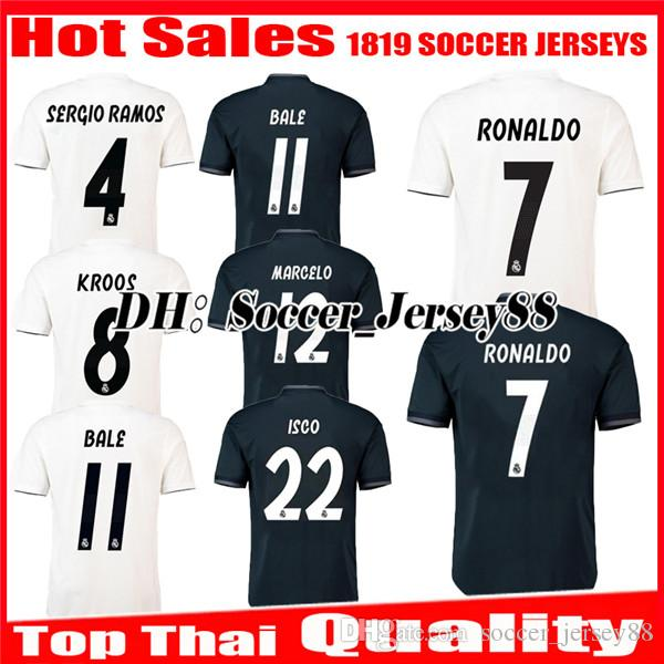 2018 2019 Real Madrid Home Soccer Jersey 1819 RONALDO BENZEMA BALE KROOS  SERGIO RAMOS MODRIC ISCO NAVAS ASENSIO MARCELO Away Football Shirts UK 2019  From ... ede9f9c4ec164