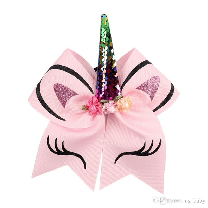 çiçek Glitter Baskılı Butik Saç Aksesuarları ile 7inches Kız Unicorn Horn hairbands Çocuklar Büyük Saç Yaylar