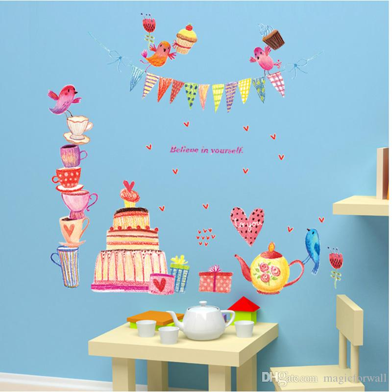 Cartoon Birds Cupcakes Wall Sticker Birthday Party Background Decor Wall Mural Poster Art Believe Wall Quote Graphic Self-adhesive Wallpaper