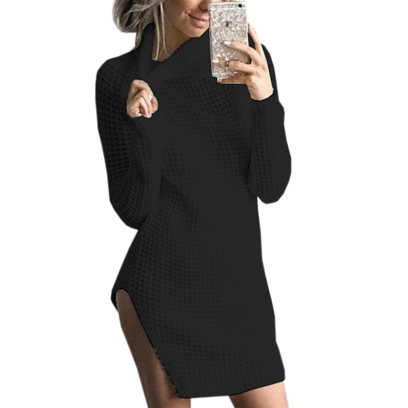 e892a578a5 Compre Sexy Side Dividir Mulheres Vestidos De Malha Outono Inverno Femme Gola  Alta De Malha Mini Vestido Casual Manga Longa Camisola GV994 De Bibei01