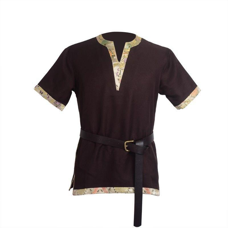 shirt costume Adult Men Medieval Viking Costume Holiday Cosplay Vintage  Knight Warrior Norman Chevalier Braid Saxon LARP Tunic Pirate Shirt