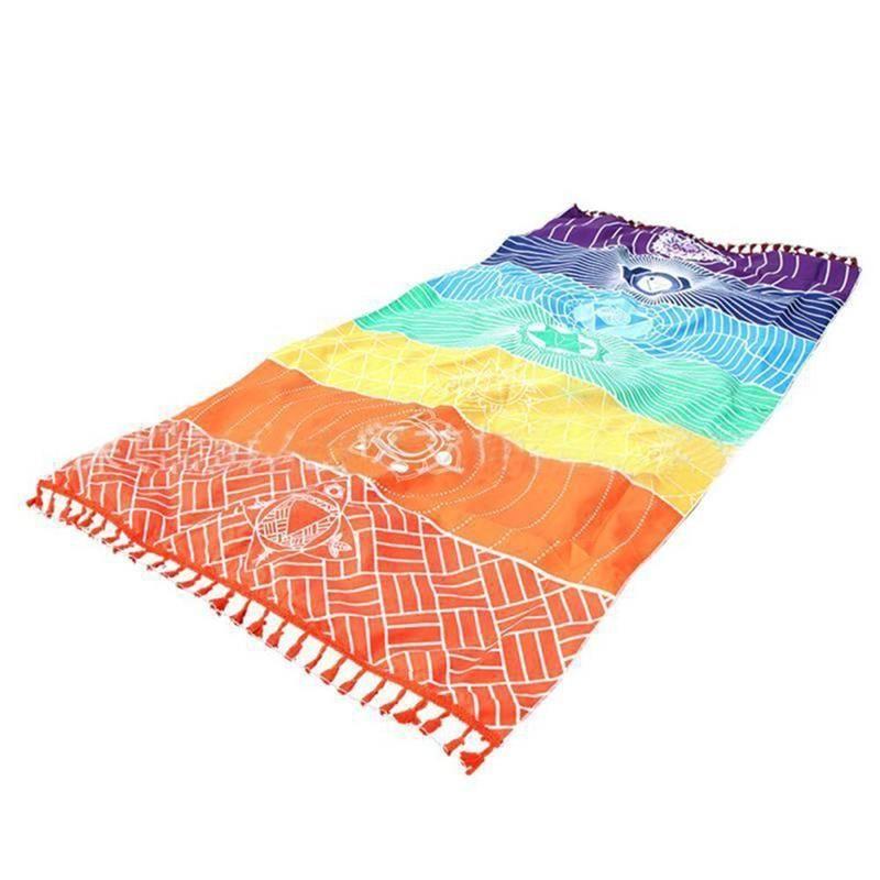 Colchoneta de yoga Arco Iris 7 Chakra Rayas Toalla de Playa Colgante de Pared de Verano Mandala Manta de Viaje Protector Solar Mantón Hippy Boho