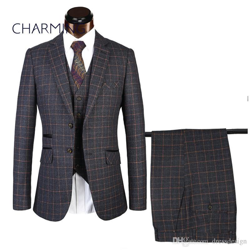 innovative design 4e5e4 dc179 Rcheckered Anzüge 2 Knopf-Designs 2 Farben 3-teiliger Anzug für Männer  (Herrenanzüge Weste Hosen) Für Herren Hochzeitsanzug Herrenanzüge