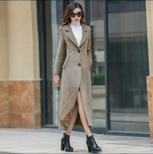 9b28aaa86e 2018 New Winter Woolen Coat Women's Pure Color Lapel Single Breasted X-long  Overcoat Female Casual Thicken Wool Cashmere Jackets