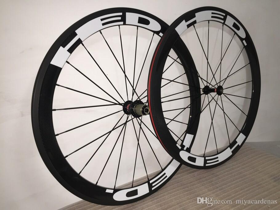 HED 50mm 화이트 클린 처 탄소 자전거 바퀴 프레임 700C 도로 바퀴 3K 광택 / 3K 매트 / UD 매트