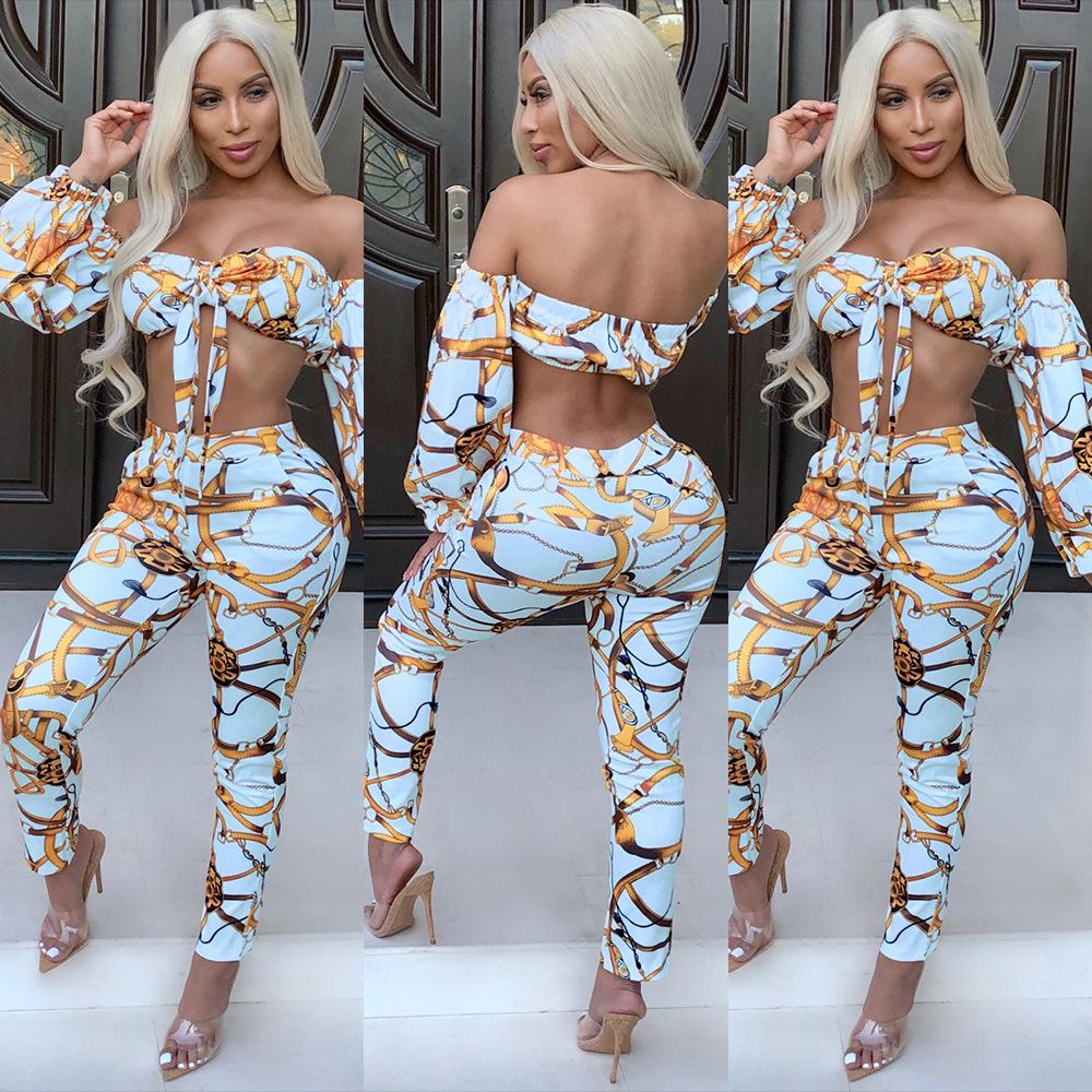 c5538a248c1 2019 2018 Winter Women Sexy Yellow Chains Print Strapless Pantsuit Light  Blue Long Sleeve Bandage Tube Crop Top Long Pant Party Club Outfits From  Hengytrade ...