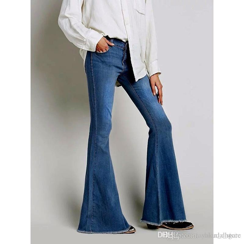 5d8d667d420 2019 2018 Vintage Low Waist Elastic Flare Jeans Women Retro Style Bell  Bottom Skinny Jeans Female Dark Blue Wide Leg Denim Pants From  Fashion dhgate