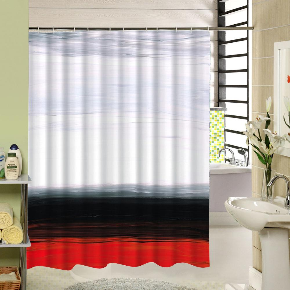 2019 White Black Red Shower Curtain Family Home Decorative Curtain