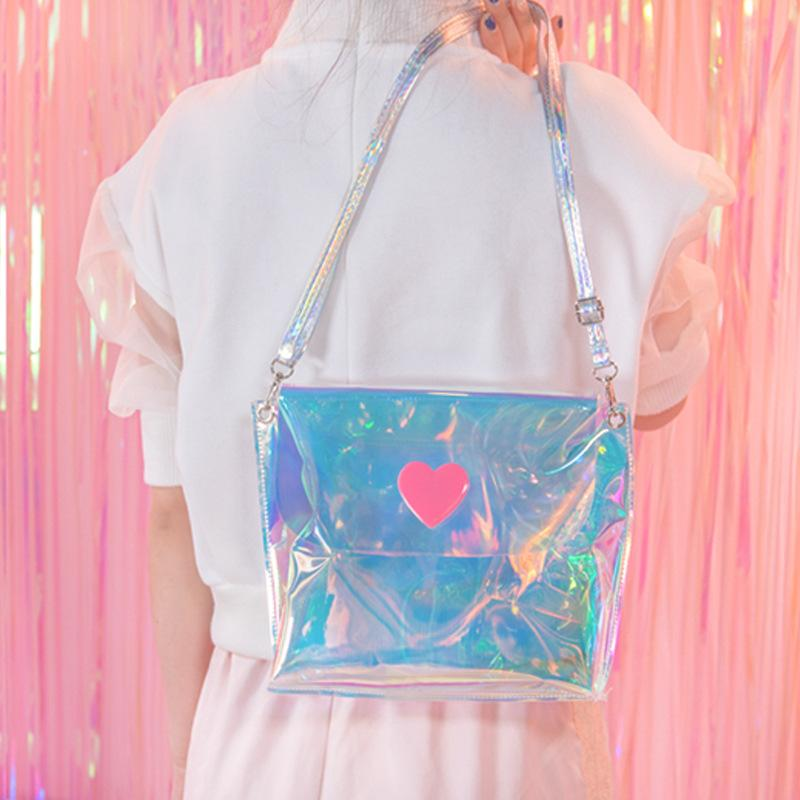 Triple Stone Transparent Laser Holographic Messenger Bag Flap Sweet Heart Clear  Jelly Handbag Japanese Girls Mini Harajuku Purse Red Handbags Italian ... be71ff768a19a