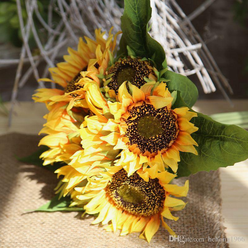 New Designer Simulation Silk Flower Photo Props Cloth Bouquet Sunflower Style Artificial Fake Flower Home Wedding Favor Party Decor 19 8sy a
