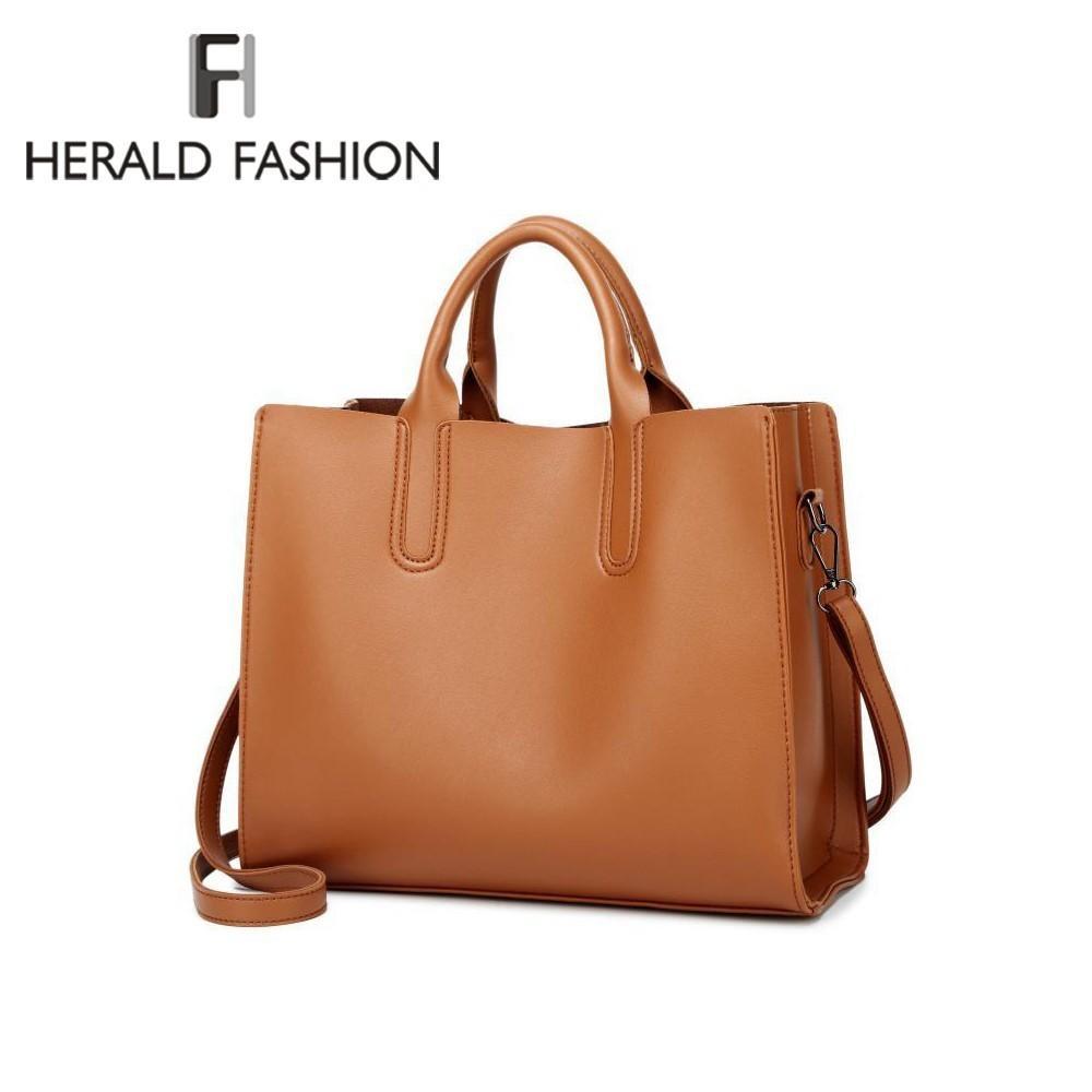 d0642755d3e4 Herald Fashion Leather Handbags Big Women Bag High Quality Casual Female  Trunk Tote Spanish Brand Shoulder Bag Ladies Bolsos Black Handbag Fashion  Bags From ...