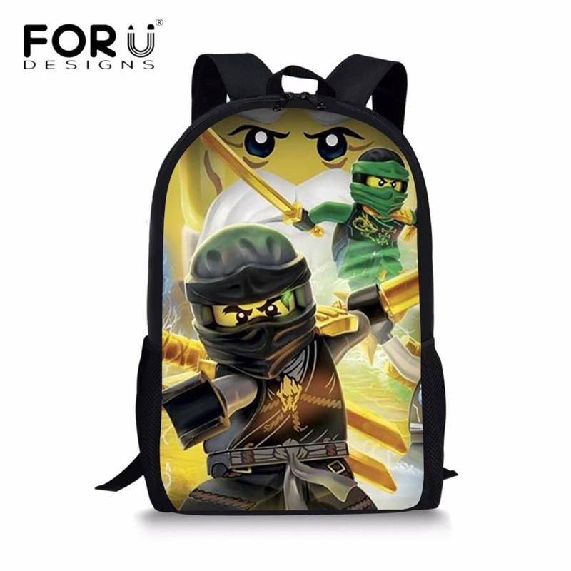 FORUDESIGNS Ninjago Schoolbag Cartoon 3D Printing Children School Bags Set Canvas Backpack Book Bag for Teen Boys