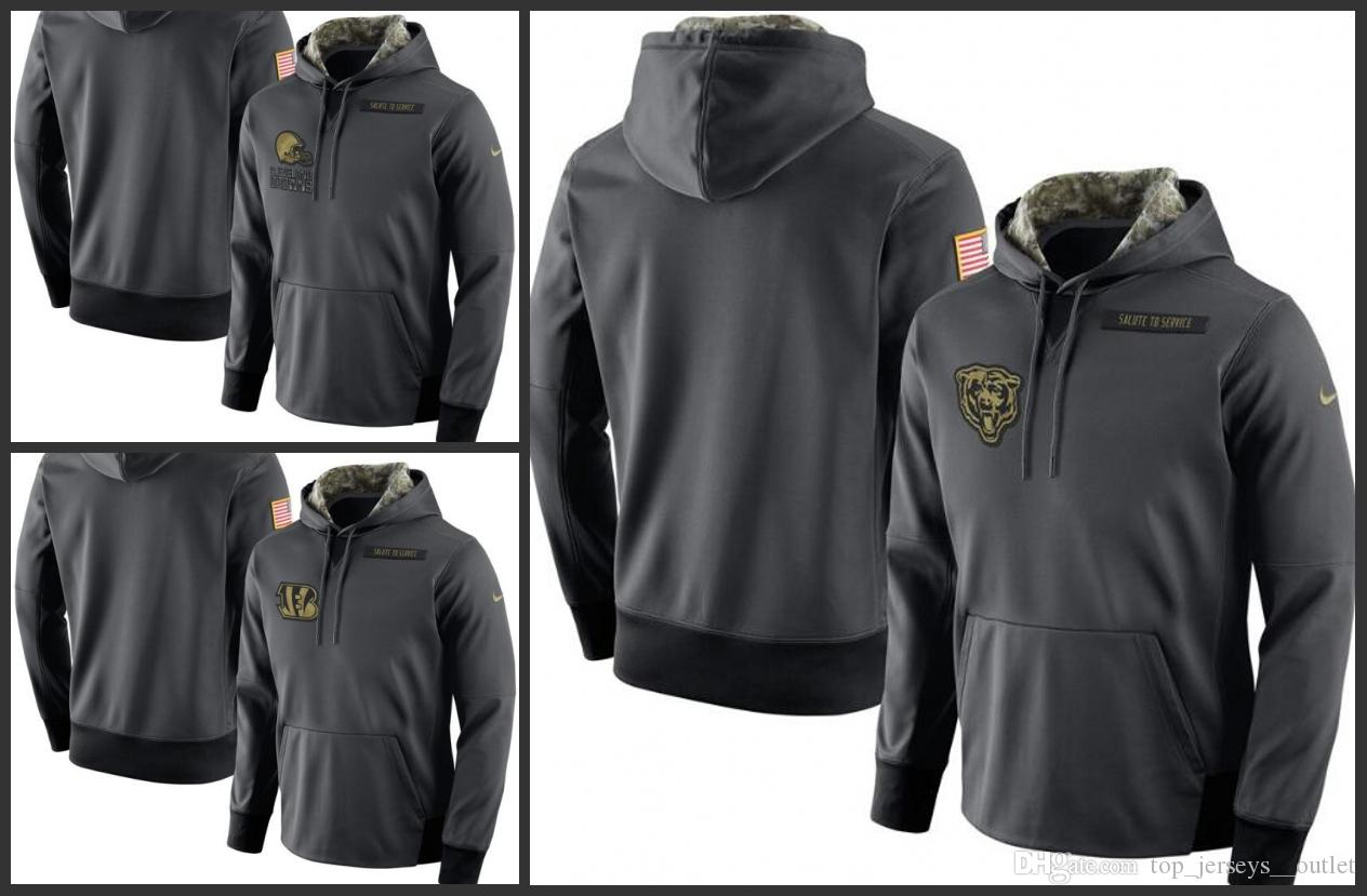 more photos 51d60 b8a3f Cleveland Browns Cincinnati Bengals Chicago Bears Men Anthracite Salute to  Service Player Performance Hoodie