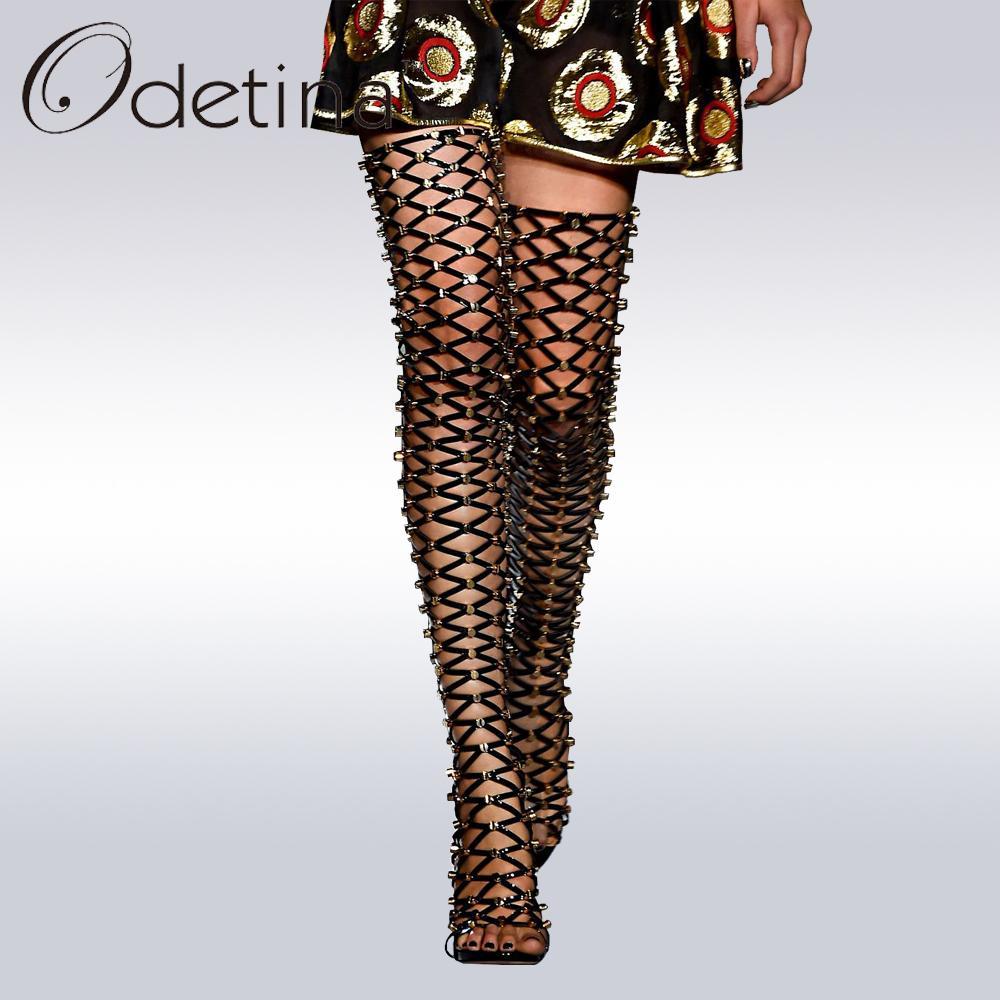 Sexy Brand High Sandals Odetina 2017 Gladiator Boots Thigh New Women lJFKc1