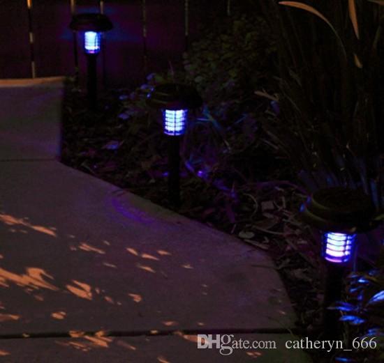 Tueur d'extérieur pour insectes volants alimenté à l'énergie solaire avec zapper dans le sol - Lampe de jardin sans fil Portable LED pour moustiques