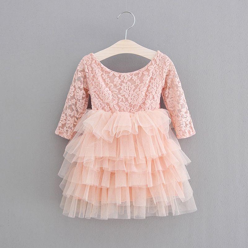 8d7e78fb4113e Princess Kids Girls Tutu Lace Ruffles Cake Party Dress Bow Dress Candy Pink  Color Cute Children Spring Summer Holiday Dress