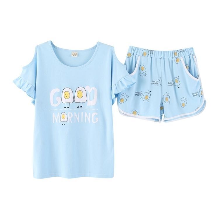 2019 Sexy Summer Short Pyjamas Women Shorts Cute Cartoon Simple Cartoon Cotton  Women Pajama Sets Homewear Ladies Sleepwear Nightwear From Jellwaygood 654c057c9