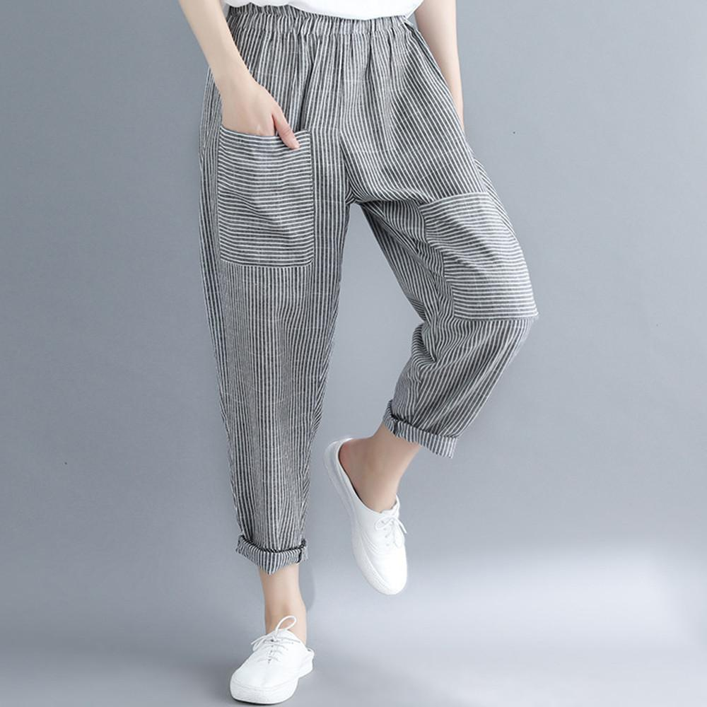ed844cc20f0 2018 Newest Style Summer Women s New Loose Casual Harem Pants Elastic Waist  Ankle-Length Pants Trousers Online with  35.41 Piece on Bestshirt005 s  Store ...