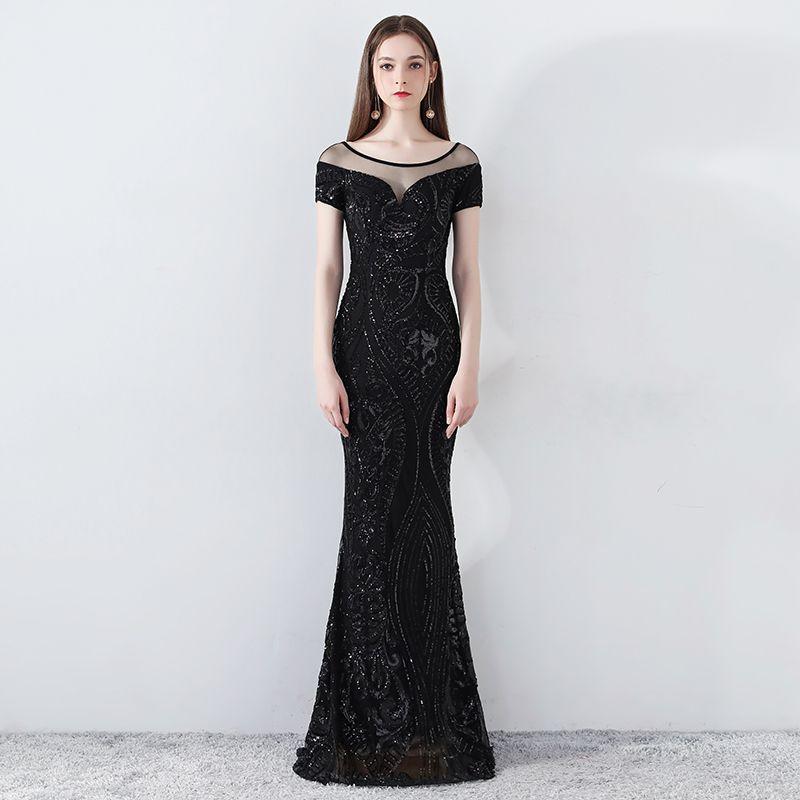 276814f74 Compre 2018 Elegantes Rebordear Vestidos De Noche Sheer Scoop Mangas Cortas  Sirena Lentejuelas Vestido De Fiesta Largo Imágenes Reales Baratas Vestidos  ...