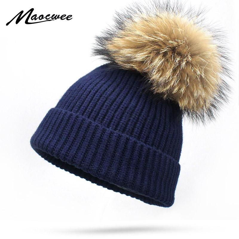 79bfe743a4d New Wool Beanies Women Real Raccoon Fur Pom Poms Fashion Knitted Hat Girls Female  Beanie Cap Pompom Winter Hats For Women Women Hats Cool Beanies From ...