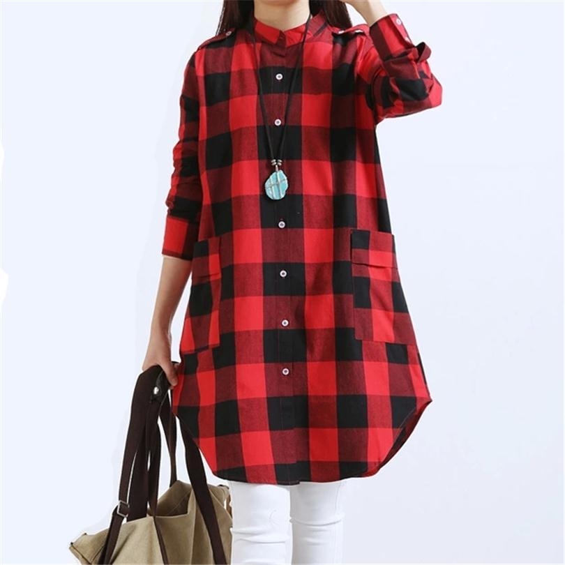 f9e03c371 CUHAKCI Maxi Long Loose Grid Print Shirts Women S Clothing Casual Tops  Pockets Plus Size Streetwear TShirt Plaid T Shirts S066 Graphic T Shirts  Custom Shirt ...