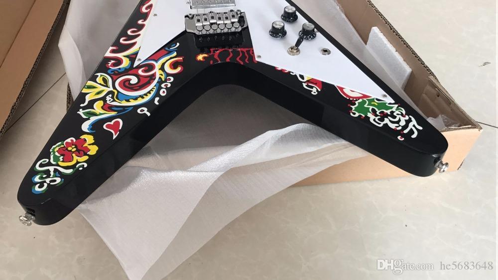 O envio gratuito de New Arrival Psychedelic G Jimi Hendrix Flying V guitarra 170625