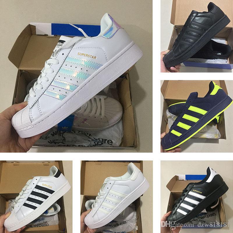 b7740b560 Compre Top Qualidade Superstar Branco Holograma Iridescente Adidas  Originals Superstar W Sneakers Clássico 80 S Orgulho Tênis Super Estrela  Mulheres Homens ...