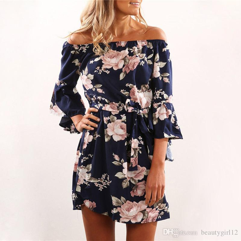 Women Dress 2018 Summer Sexy Off Shoulder Floral Print Chiffon Dress Boho Style Short Party Beach Dresses fiesta