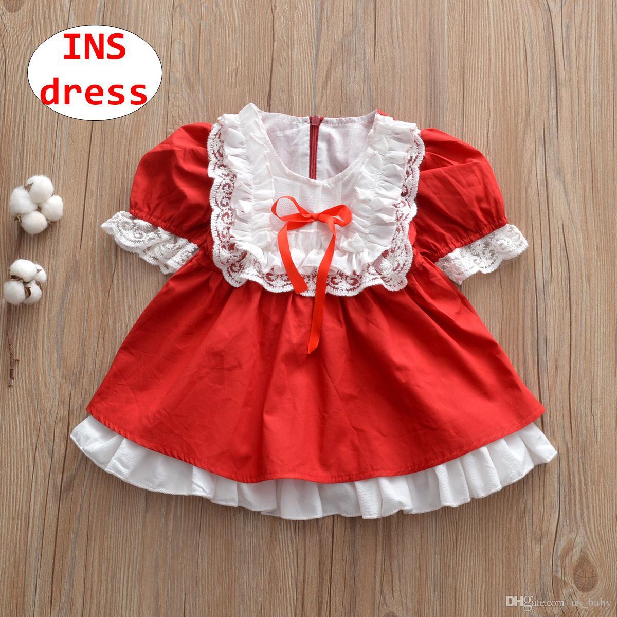 2b3161b83 Compre INS Menina Doce Vestido De Bebê Boneca De Natal Vestido De Renda  Branca Vermelha Crianças De Manga Curta Outono Vestido De Baile De Us_baby,  ...