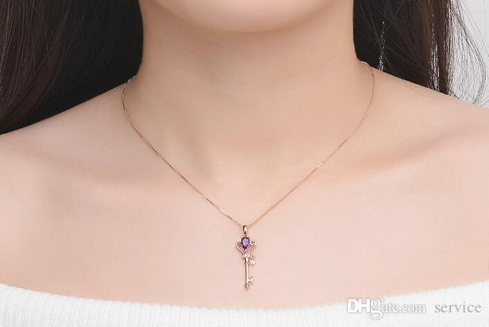 Crown Key Pendant Necklace 6x4mm 0.4ct Natural Teardrop Amethyst Argento 925 Gioielli in oro rosa Colore S925