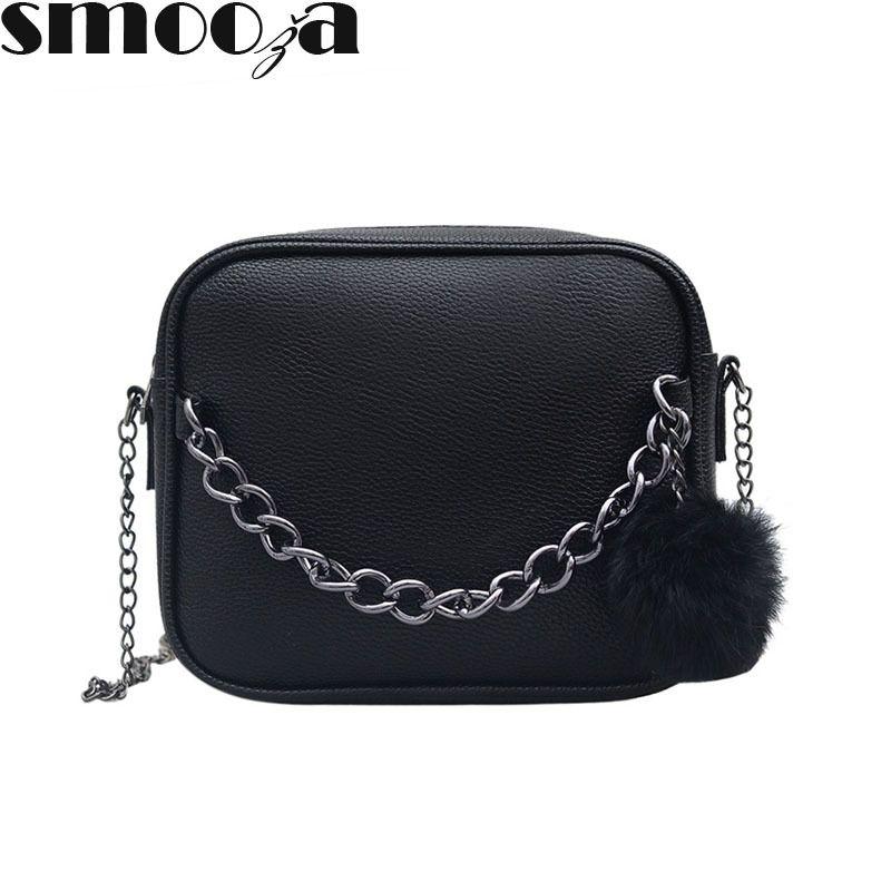 a803ac16493d SMOOZA Small Designer Chain Women Bag Leather Handbag Women Messenger Bags  PU Shoulder Crossbody Bag With Plush Ball Toy Bolsa Hobo Bags Designer Bags  From ...