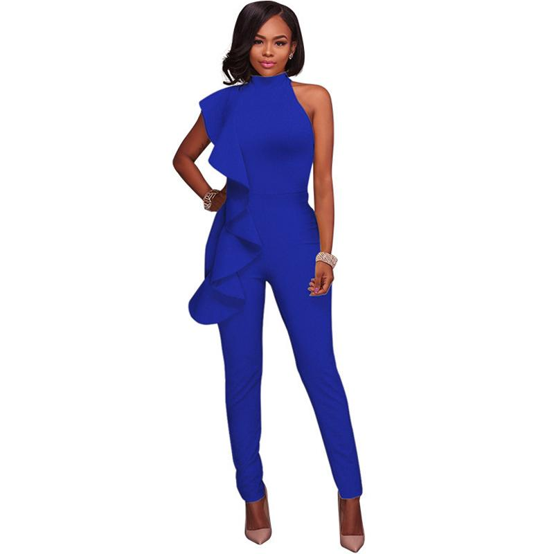723dc773e3ec 2019 Women Plain Blue Black Jumpsuit Ruffles Sleeveless Sheath Bandage  Rompers Party Night Clubwear Slim Sexy Bodycon Stretch Overall From Sikaku