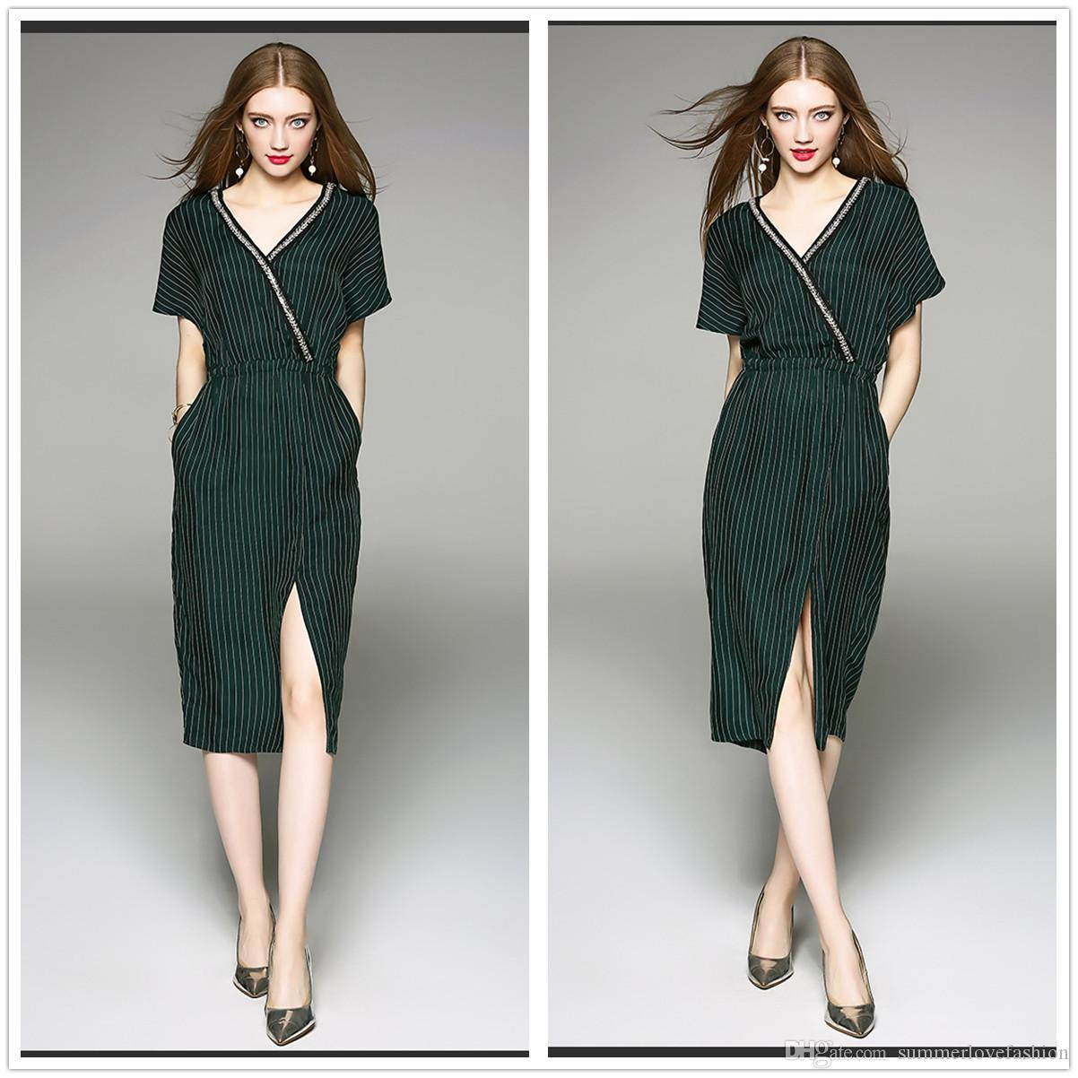 V Neck Short Sleeves Striped Casual Dresses Dark Green Beaded Split Knee  Length Women Dresses With Pocket Long Dresses Sale Dr Ess From  Summerlovefashion 1b2d83e2a