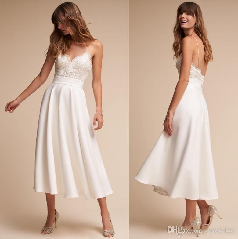 Summer Vintage Wedding Dresses: Discount Retro 1920s Tea Length BHLDN Wedding Dresses 2018