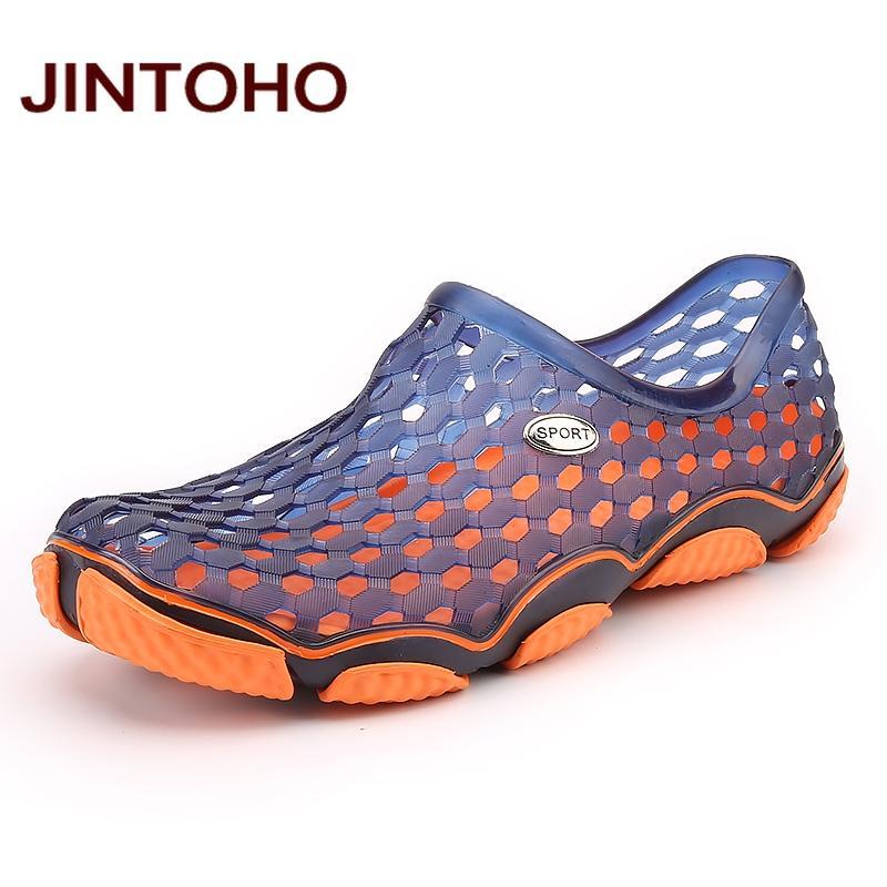 Acheter JINTOHO Unisexe Sandales Été Plage Chaussures De Mode Eau  Chaussures Respirant Aqua Plastique Sandales Plage Hommes De  30.34 Du Faaa   9943b03e96b