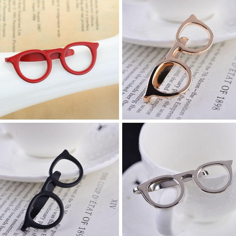 2018 Fashion Jewelry Gold Black Silver Lapel Pin Men Tie Clip Glasses Brooch Broche Vintage Safety Pin Brooches For Women Shirt