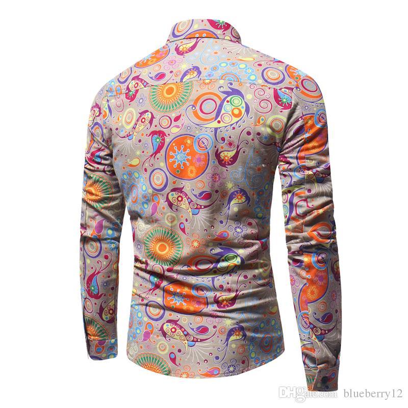 Bahar Erkekler Flroal Baskılı Rahat Gömlek Pamuk Şık Uzun Kollu Turn-aşağı Yaka Tek Göğüslü Homme Giyim M-3XL Boyutu