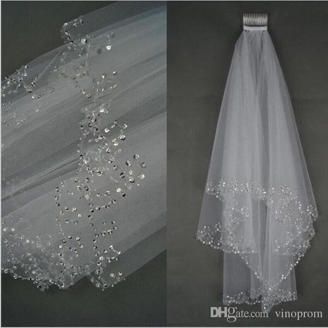 Élégant voile de mariée nuptiale court 75cm avec voile blanc combe pour voile de mariage en tulle 2018