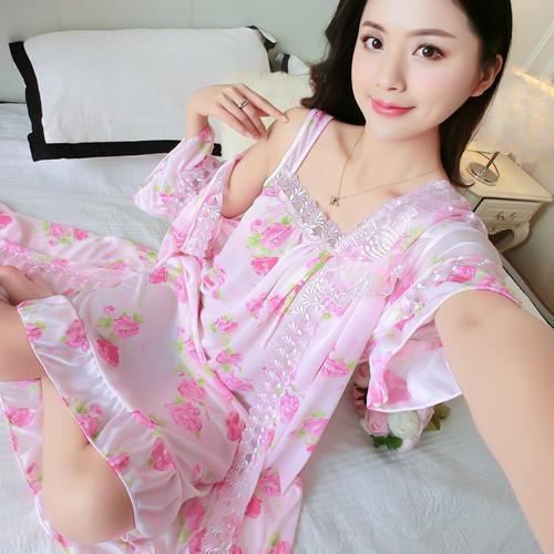 39393566cb5 Pajamas Women's Suits Sexy Mid Sleeve Printed Ice Silk Nightgown Loose Two  Piece Silk Sling Skirt.