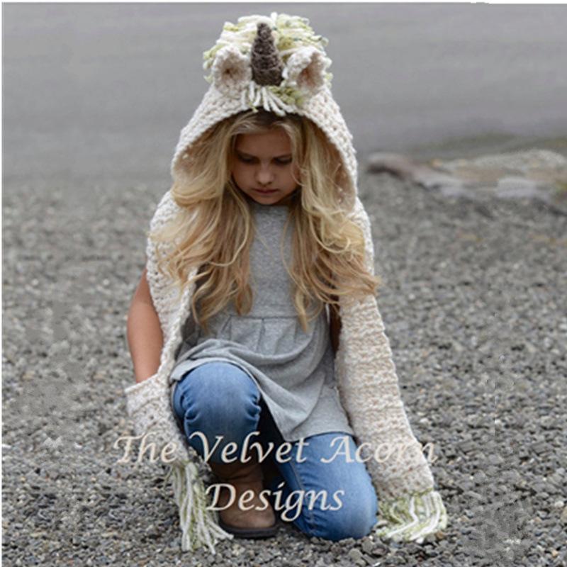 Girls Scarf Fallspring Fashion Unicorn Pattern With Knitting